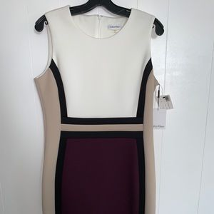 Calvin Klein color block Fitted Sleeveless Dress
